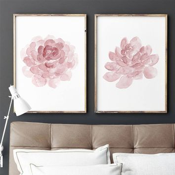 (No Frame) Blush Pink Print Succulent set 2 Art Prints, Baby Girl Watercolor Painting Dusty Pink Nursery Wall Decor Kids Room Po
