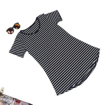 Women Casual Striped T-shirt Long Tops Blouse Kaftan Beach Shirt Mini Dress