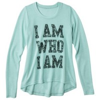 Junior's I Am Who I Am Graphic Sweater - Mint Green