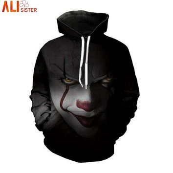 Alisister Horror Movie Clown Hoodie 3d Skull Sweatshirt EUR Plus Size COSPLAY Sportswear Tracksuit Men Women Unisex Pullover