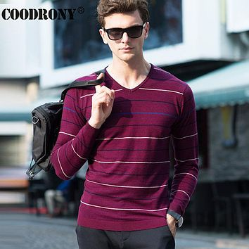 High Quality Soft Warm Merino Wool Sweater Men Clothing Leisure Striped V-Neck Sweaters Knitted Cashmere Pullover Men
