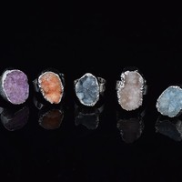 2017 Silver Plated Nice New Arrival Irregular Shape Adjustable Natural Stone Ring Women Druzy Raw Stone Women Ring Gift