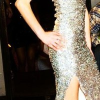 Silver Strapless Dress - Strapless Silver Sequin Dress, Party | UsTrendy