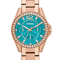 Fossil Watch, Women's Riley Rose Gold-Tone Stainless Steel Bracelet 38mm ES3385