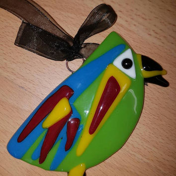 Fused glass funky wonky bird decorative glass bird weather proof great for garden decoration, green bird, colourful bird