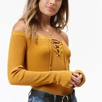 Lottie Moss Long Sleeve Off-The-Shoulder Sweater Top at PacSun.com