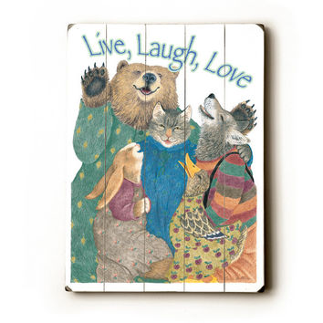 Live, Love, Laugh by Artist Paris Bottman Wood Sign