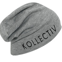 "Kollectiv ""Wordmark"" Knit Slouch Beanie 12"" (H.Gry/Blk)"