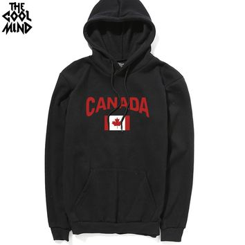 Casual cotton blend thick fabric canada maple printed men hoodies with hat autumn winter fleece men sweatshirts