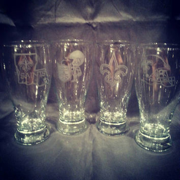 New Orleans Saints Hand Made Etched Beer Glasses set of 4