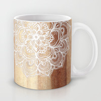 White doodles on blonde wood - neutral / nude colors Mug by micklyn