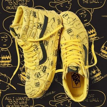 PEAP2Q peanuts x vans 2017 sk8 hi yellow men women sneaker