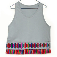Tribal Top, Women Tank,  Rainbow Top, Geometrical Tee with Fringe in Peruvian fabric, Peruvian textile, Women's Tops, Trendy Tops, T shirt