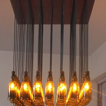 Customizable Belgiun Beer Bottle Chandelier / Pendant LIght Made from Hoegaarden -  Recycled Brown / Olive bottle lighting