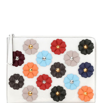 Fendi Floral-Studded Leather Pouch Bag, White