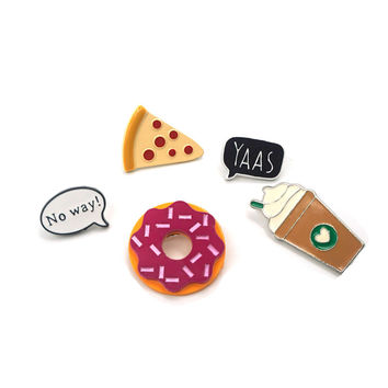 Fashion Summer Style Enamel Brooch Pins set Cute No way Speech bubble Coffee Pizza DonutsBrooch Set Women Jewelry Party