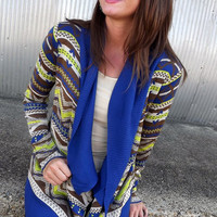 Blue & Lime Tribal Cardi | The Rage