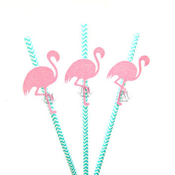 25 Teal Chevron Paper Straws with Glitter Flamingo - Flamingo straws, tropical straws, wedding, engagement, birthday, tropical party
