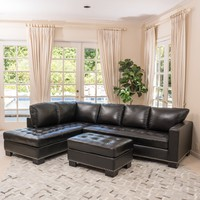 Harinden Contemporary Black Leather Sectional Couch