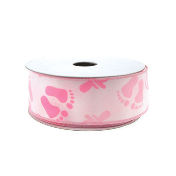 Baby Shower Items Polyester Wired Ribbon, 1-1/2-inch, 10-yard, Light Pink
