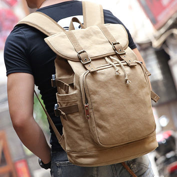 New Canvas High Capacity Backpack Fit for Laptop Backpack Khaki