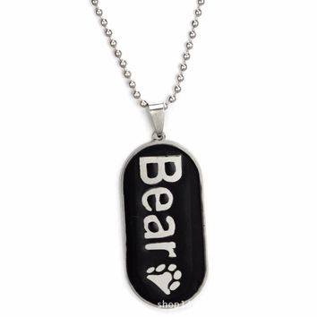 Silver Plated Gays Necklace Bear Palm Cub Paw Teddy Sweater Pendant Long Chain Collares Jewelry Cute Dog Tags Letters Molding