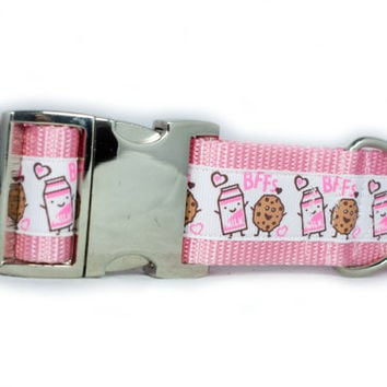 Milk and Cookies BFF Dog Collar, Aluminum Buckle, 1.5 inch wide, 4 sizes, white, pink, friends, buddies, sweet, girly