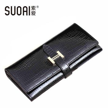 SUOAI 2017 High Quality Genuine Leather Wallets Women Long Purse Vintage Alligator Genuine Leather Wallet