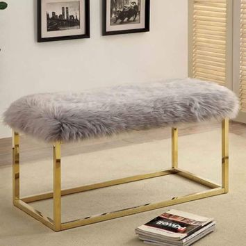 Fuzzy Contemporary Large Bench, Gray & Gold