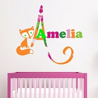Personalized Name Wall Decal Fox Full Color Mural for Nursery Girls Name Sticker SD1