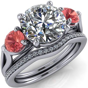 Mira Round Moissanite Padparadscha Sapphire Side Split Shank Cathedral Hybrid Engagement Ring