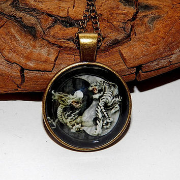 Yin-Yang dragon and tiger Pendant necklace keychain, Yin-Yang jewelry, Yin Yang symbols dragon and tiger, Astrology Zodiac Jewelery