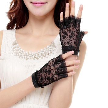 Free Shipping Cyrilus Women Gloves Genuine Leather Gloves Fingerless Imported Suede Lace Gloves CYW022