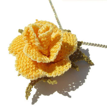 Citrine yellow Rose pendant, silver chain, hand embroidery rose jewelry, bridesmaid gift, Lace rose necklace, crochet flower handmade TAGT