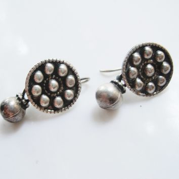 Vintage Small Indian Silver Earrings from Rajasthan