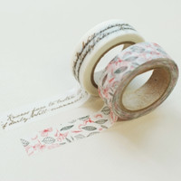 Vintage Leaf & Lettering Washi Tape Set
