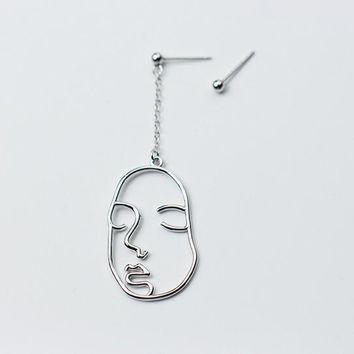 Freak Funny asymmetry Earrings Real. 925 Sterling Silver Jewelry One human FACE & one Bead asymmetry earrings Long GTLE1655