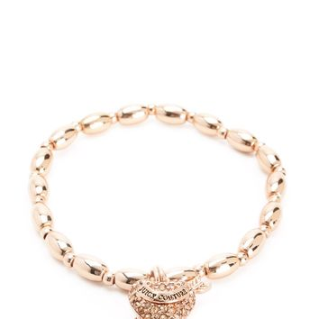 Gold Pave Heart & Arrow Beaded Bracelet by Juicy Couture, O/S