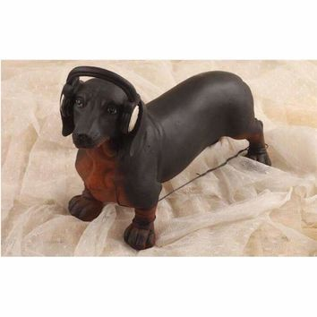 Vintage American Dachshund Dog With Headphone Figurine