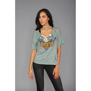 Free Love Distressed Graphic Tee in Teal