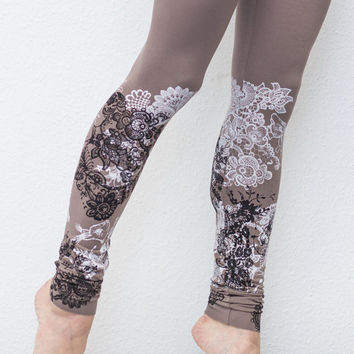 Ash brown leggings with black and white lace animal print