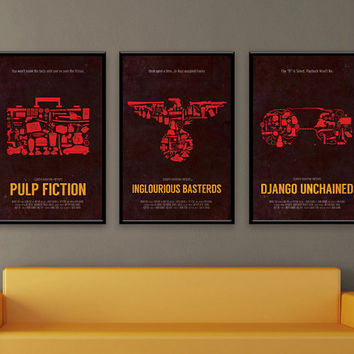 Quentin Tarantino Inspired Poster Series - Pulp Fiction, Inglourious Basterds, Django Unchained