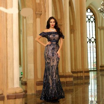 Elegant Mermaid Evening Dresses Long for Women Sexy Off-Shoulder Sequins Simple Prom Party Gowns