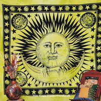 Psychedelic Celestial Sun Moon Tapestry, Star Tapestry, New Age Dorm Decor, Beach Sheet Hanging Wall Art, Hippy Hippie Boho Indian Tapestry