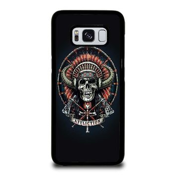AFFLICTION INDIAN SKULL Samsung Galaxy S3 S4 S5 S6 S7 Edge S8 Plus, Note 3 4 5 8 Case Cover