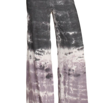 Womens Gray & Purple Colorblock Tie Dye Palazzo Yoga Pants