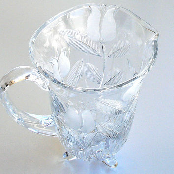 Vintage Cut Crystal Water Pitcher Intaglio Frosted Tulips Pattern Heavy Lead Crystal Pitcher