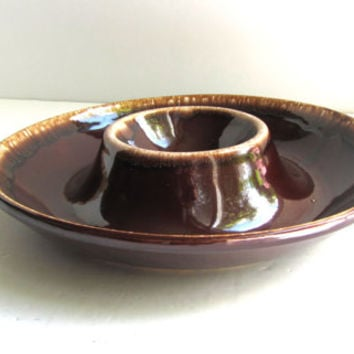 Vintage Brown Chip Dip Bowl Kathy Kale Pottery