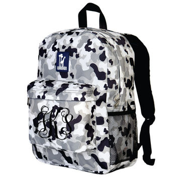 Monogram Backpack and Lunch Bag Set - Wildkin - Personalized - Grey Camo - Back to School Crackerjack