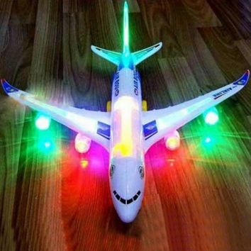 New Creative Children Kids Electric Airplane Toy Musical Toys Moving Flashing Lights Sounds Toy Children Gifts  (Size: Electric